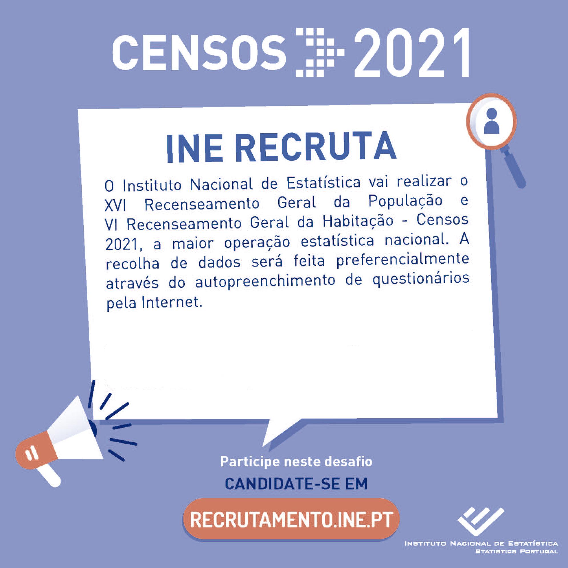 INSTITUTO NACIONAL DE ESTATÍSTICA – RECRUTAMENTO CENSOS 2021